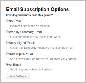 Group Email Subscription Options screenshot