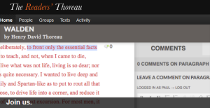 The Readers' Thoreau – a space for reading Thoreau's writings in the way he recommended: deliberately.