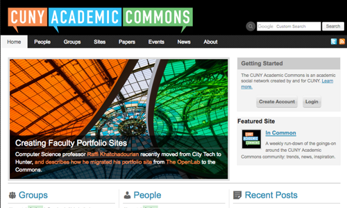screenshot of CUNY Academic Commons homepage