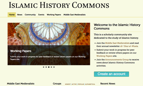 screenshot of Islamic History Commons homepage