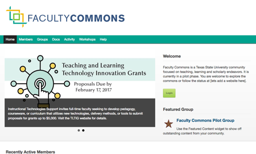 screenshot of texas Faculty Commons homepage