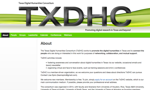 screenshot of Texas Digital Humanities Consortium homepage