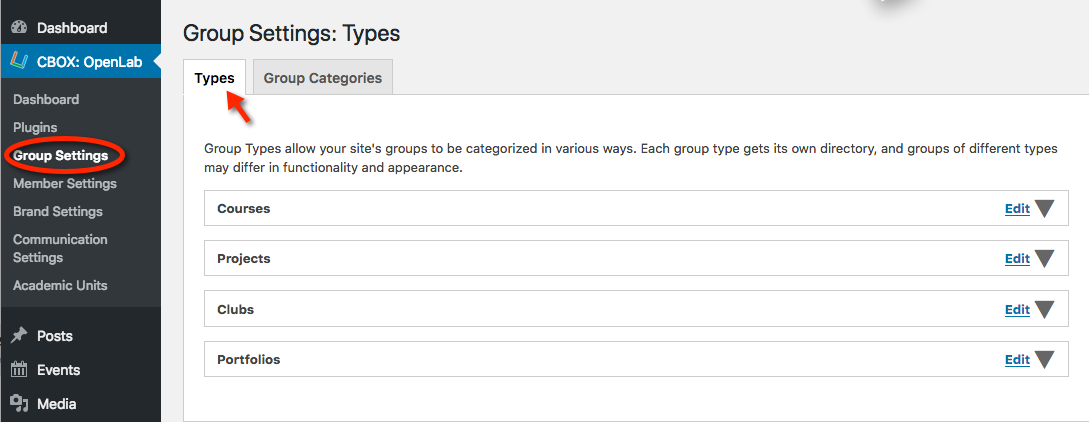 Group Settings Types tab
