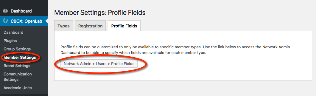 Link to profile fields in member settings