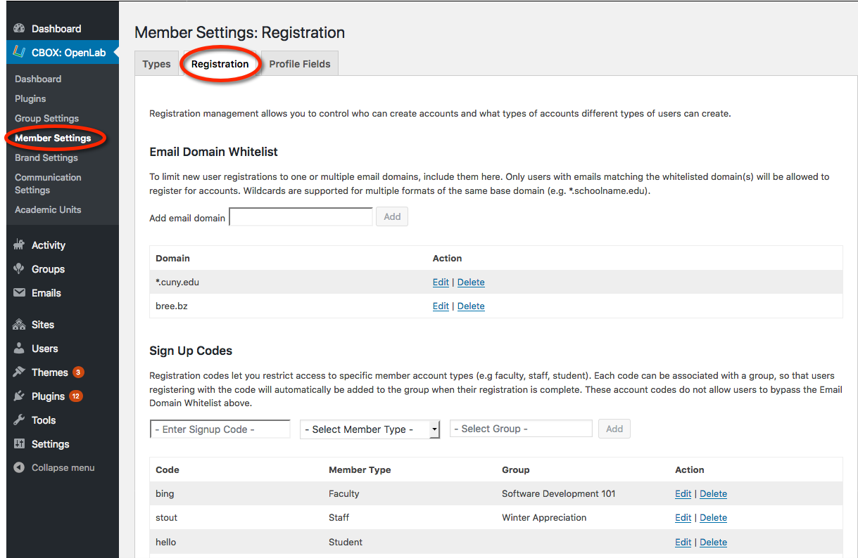 Member settings: registration