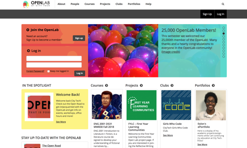 screenshot of OpenLab at City Tech homepage