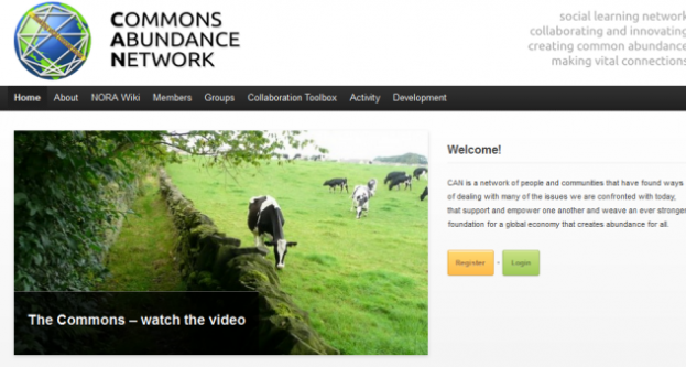screenshot of Commons Abundance Network homepage