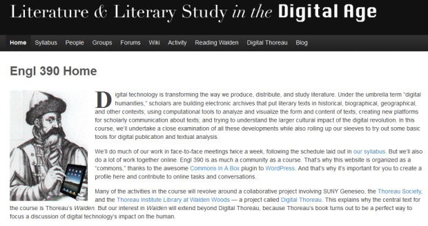 screenshot of Literature and Literary Studies in the Digital Age homepage