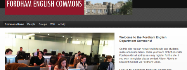 screenshot of Fordham English homepage