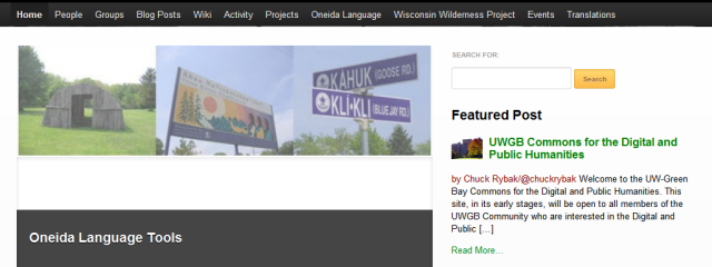 screenshot of University of Wisconsin Greeen Bay Commons homepage