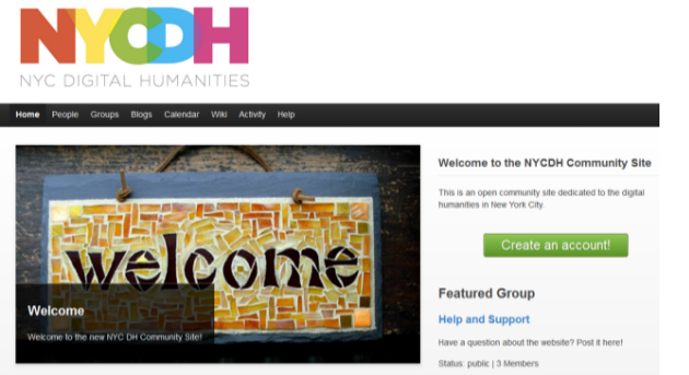 screenshot of NYCDH Commons homepage