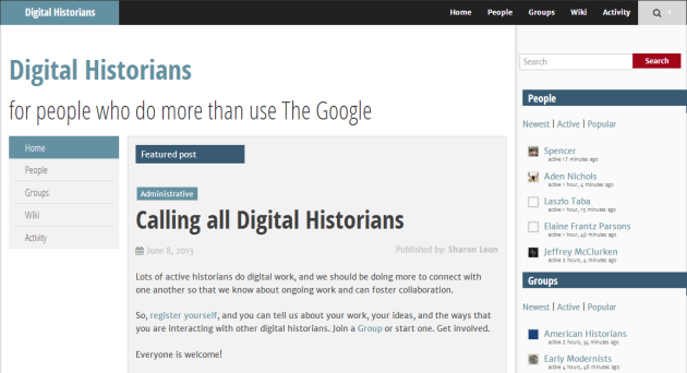 screenshot of Digital Historians Commons homepage