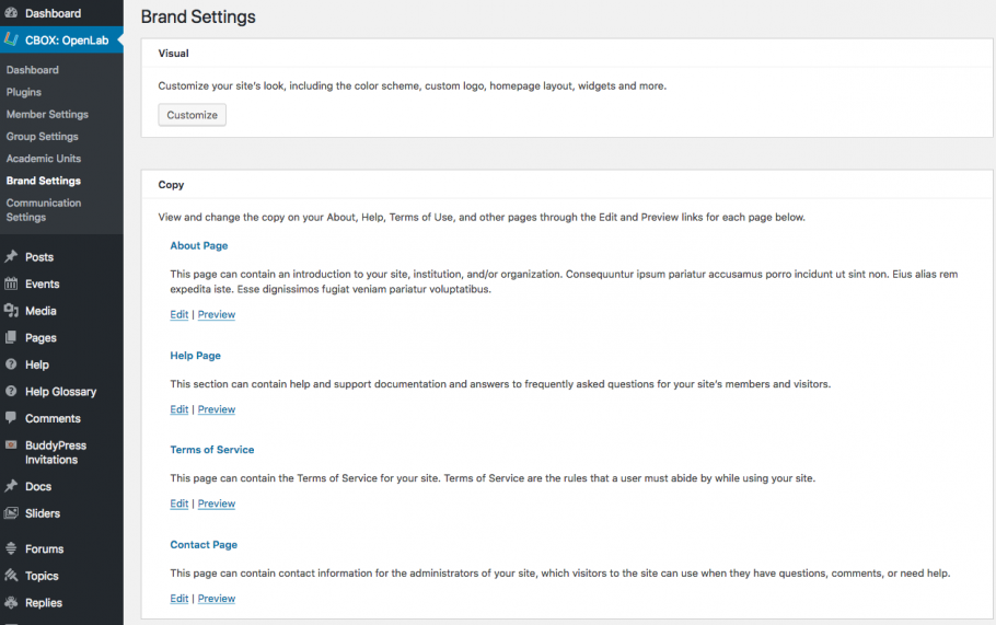 Brand Settings main page