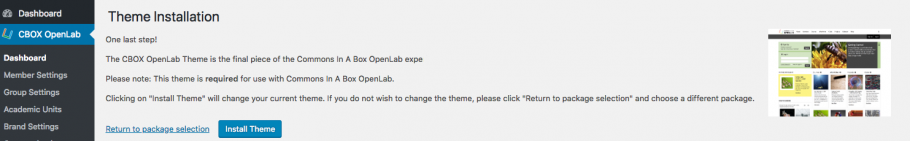 Theme installation page