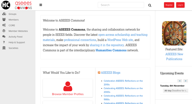 screenshot of ASEEES Commons homepage