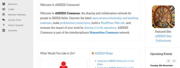 screenshot of ASEEES Commons homepage