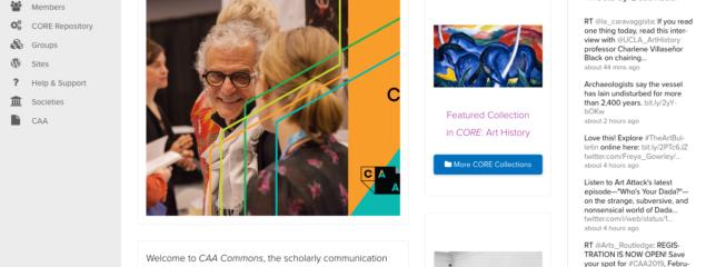 screenshot of HC Commons homepage